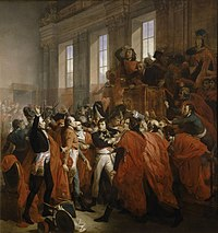 Painting shows a crowd of men confronting a man in a military uniform in the center. The hall has three large windows.