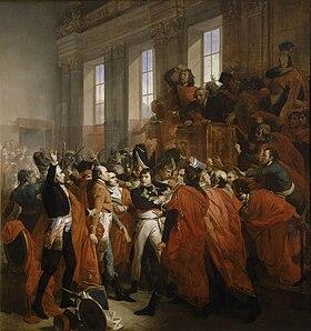 Orangerie du parc de Saint-Cloud, coup d'État des 18-19 brumaire an VIII. Le général Bonaparte au Conseil des Cinq-Cents, à Saint-Cloud. 10 novembre 1799 par François Bouchot, 1840, château de Versailles.