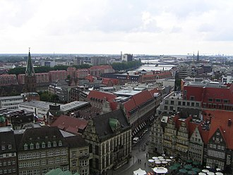 Bremen - View from the Bremen Cathedral in the direction of the Stephani-Bridge