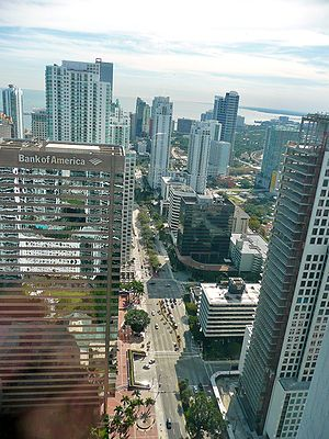 Brickell - Aerial of Brickell looking down Brickell Avenue from Icon Brickell.