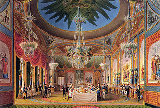 Royal Pavilion - The richly decorated Banqueting Room at the Royal Pavilion, from John Nash's Views of the Royal Pavilion (1826).