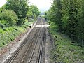 Brighton to Lewes line curving towards Lewes station - geograph.org.uk - 1858495.jpg