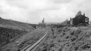 Britannia railway station - Site of Britannia Station View westward, towards Bacup (1963)