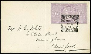 Postal fiscal stamp - A British 6d Inland Revenue stamp used at Bradford, 1892.