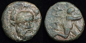 Hector - The bronze coin struck in 350–300 BC in Ophryneion, which was considered to be the site of the Tomb of Hector. Obverse depicts bearded Hector wearing triple crested helmet and reverse depicts infant Dionysos.