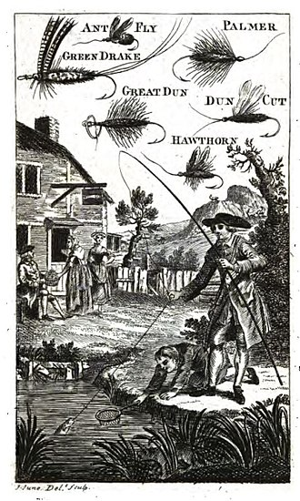 Fishing rod - Frontispiece from The Art of Angling by Richard Brookes, 1790
