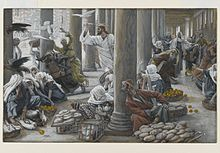 Jesus holds a whip in his hand in striking position while merchants scramble away, or brace for blows.