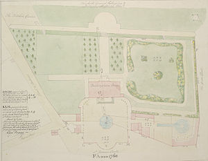 Garden at Buckingham Palace - The grounds of Buckingham House in 1760, the future site of Buckingham Palace, showing the ornamental canal (see section below) running westward, flanked by trees