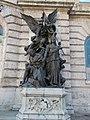 Budapest Castle Hill. Royal Palace. Lion Court, South side. War sculpture.JPG