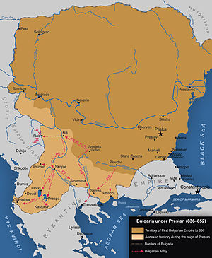 First Bulgarian Empire - Bulgaria after the territorial expansion under Krum, Omurtag and Presian