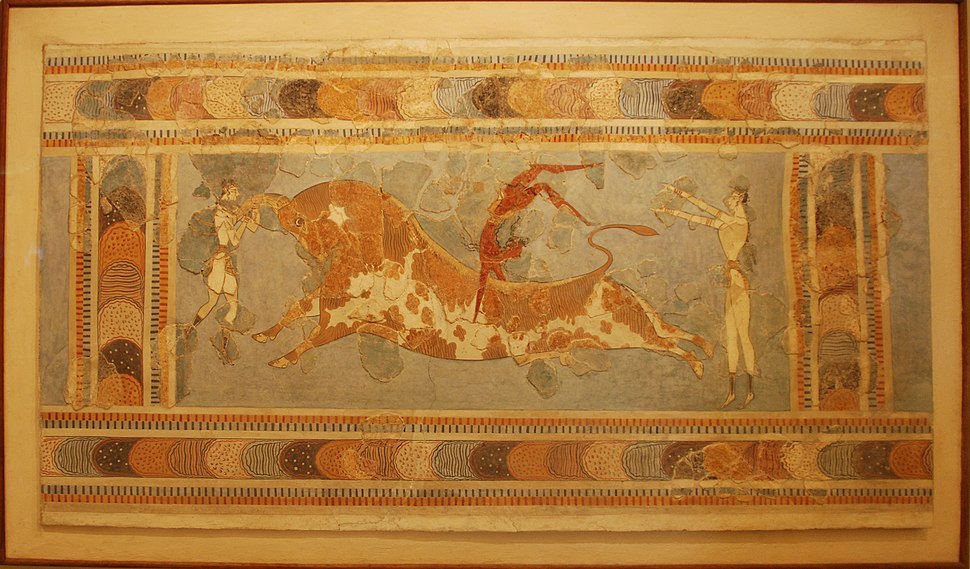 Bull leaping, fresco from the Great Palace at Knossos, Crete, Heraklion Archaeological Museum