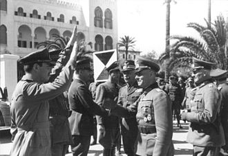 Military history of Italy during World War II - Rommel meets Italian General Italo Gariboldi in Tripoli, February 1941.
