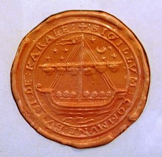 Reverse side of the burgh seal of Crail, a Fife fishing port