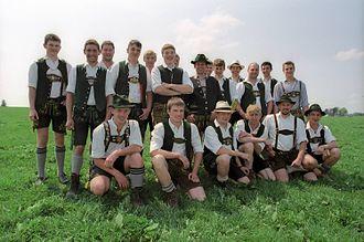 Lederhosen - Bavarian men wearing short lederhosen.