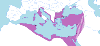 Byzantine Empire under the Heraclian dynasty - The Byzantine Empire by the end of the wars with Sassanid Persia, during Heraclius' reign. The striped areas experienced Sassanid raids.