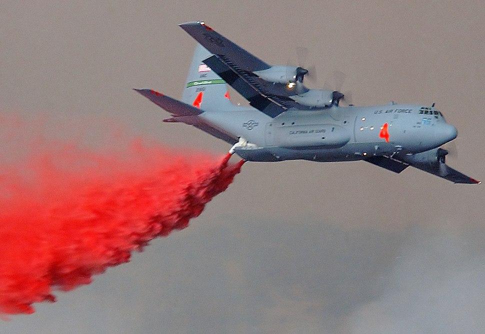 C-130E MAFFS dropping fire retardant Simi Fire Southern California DF-SD-05-14857