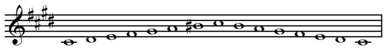 C-sharp harmonic minor scale ascending and descending.png