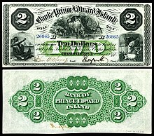 1877 $2 Bank of Prince Edward Island banknote, the first bank established in Charlottetown.