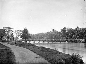 Pangkajene Islands Regency - River and bridge in Pankajene