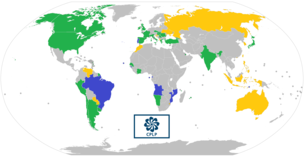 Map of CPLP member states (blue), associate observers (green), and officially-interested countries & territories (gold).