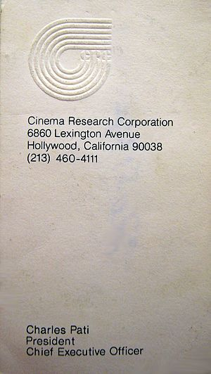 Cinema Research Corporation - Business Card for now deceased CEO of Cinema Research Corporation from 1971 with old area code for Hollywood, California with defunct non working phone number.