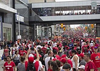 2017 in Canada - Canada 150 celebrations on Rideau Street in Ottawa on Canada Day.