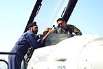 Capt. Kevin Jones gives a cockpit tour to Indian Air Force airmen during Cope India 2006.jpg