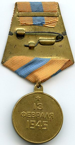 "Medal ""For the Capture of Budapest"" - Reverse of the Medal ""For the Capture of Budapest"""