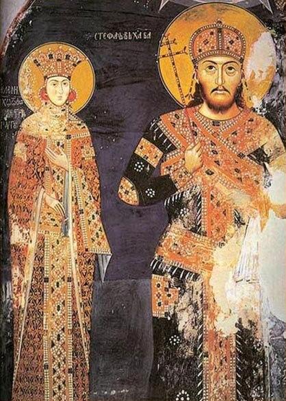 Car Dušan i carica Jelena, Manastir Lesnovo, XIV vek