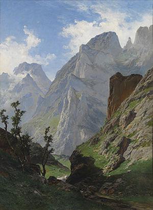 """Carlos de Haes - La canal de Mancorbo en los Picos de Europa (""""The Canal of Mancorbo in the Picos de Europa""""), 1876, by Carlos de Haes (Museo de Prado)."""