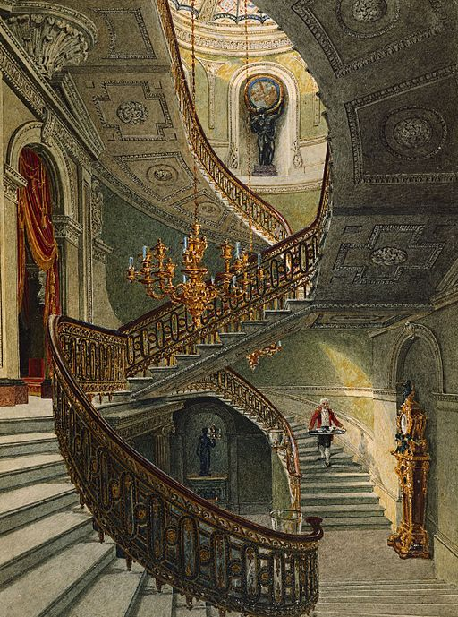Carlton House, Grand Staircase, by Charles Wild, 1819 - royal coll 922173 257092 ORI 0
