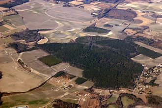 Carolina bay - More than a dozen bays are shown in this photo in southeastern North Carolina. Several are cleared and drained for farming.