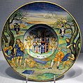 Casteldurante o urbino, nicola da urbino, tondino con mida tra apollo e pan, 1520-25 ca., stemma isabella d'este.JPG