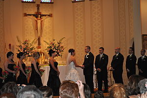 A Catholic wedding ceremony in Milwaukee, Wisc...