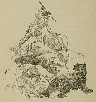 Caveman - Caveman hunting a brown bear. Book illustration by Irma Deremeaux