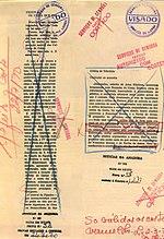"Censored pre-press proof of two articles from ""Noticias da Amadora"", a Portuguese newspaper, 1970"
