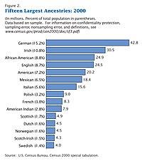 Top US Ancestries as of 2000.