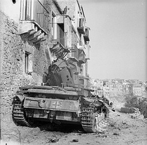 Battle of Centuripe - A Panzer III tank knocked out during the fierce street fighting in Centuripe