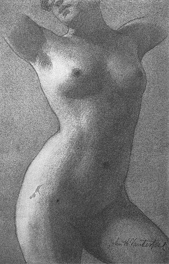 John Vanderpoel - Image: Charcoal Drawing of Female Torse, Showing Wedge Formation and Supporting Buttress, Vanderpoel