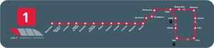 Charleroi Metro line 1 - Line M1 map