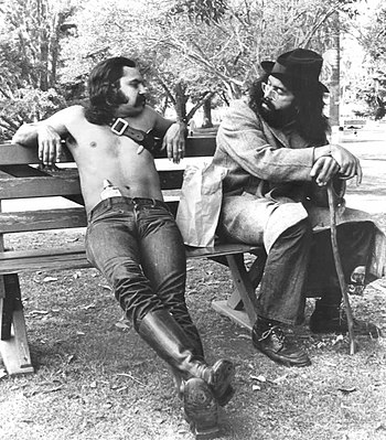 Publicity photo of the comedy team Cheech & Chong.