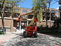 Cherry picker in pedestian courtyard SW of Sherbourne and Front, 2015 05 22 (5) (17826092519).jpg