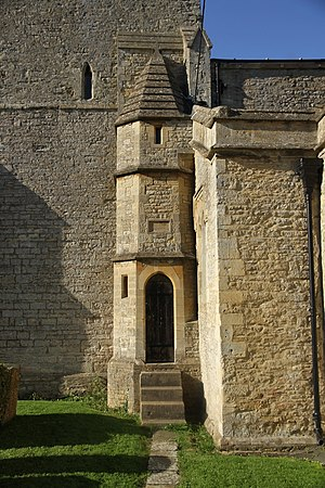 Chesterton, Oxfordshire - Stair turret added to St Mary's west tower in 1866