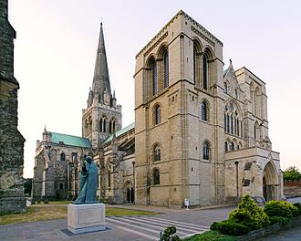 Chichester Cathedral - The west front and millennium statue of Saint Richard