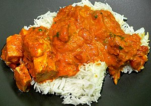 Chicken tikka masala - Chicken tikka masala, served atop rice