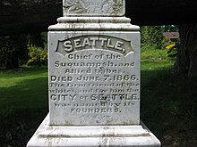chief seattle  closeup of chief seattle s tombstone in suquamish washington