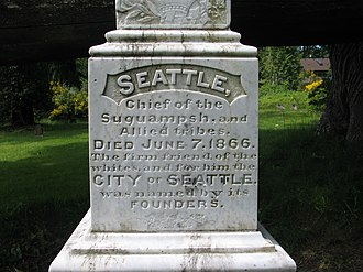 Chief Seattle - Closeup of Chief Seattle's tombstone in Suquamish, Washington