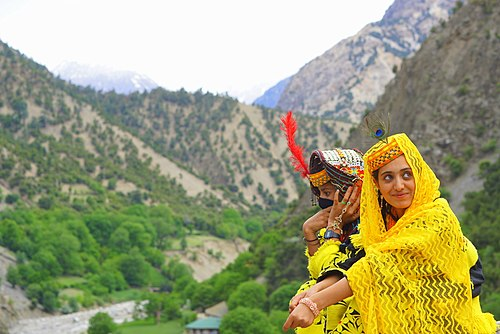 Kalash girls in the Kalasha Valleys Chilam Joshi Festival in Kalash Valley.jpg