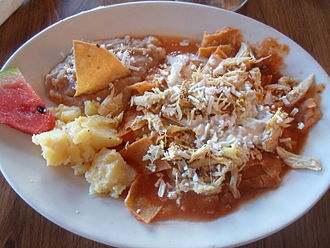 Chilaquiles - Chilaquiles in a red sauce