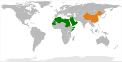 Map indicating locations of China and Arab League
